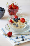 Muesli with fresh berries in a bowl Stock Image