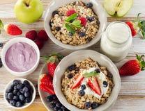 Muesli,  fresh berries and yogurt for  breakfast Stock Image