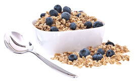 Muesli with fresh blueberries Stock Photography