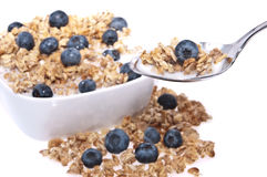 Muesli with fresh blueberries Royalty Free Stock Images