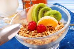 Muesli with fresh fruits as diet breakfast. Bowl of muesli with fresh fruits as diet breakfast Royalty Free Stock Photo
