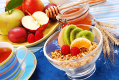 Muesli with fresh fruits as diet breakfast Stock Image