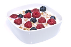 Muesli with fresh fruits in a bowl Stock Photos