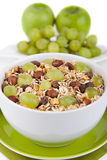 Muesli with fresh grapes Stock Image
