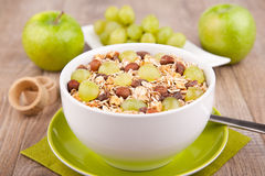 Muesli with fresh grapes Royalty Free Stock Image