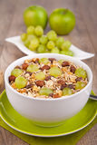 Muesli with fresh grapes Royalty Free Stock Photos