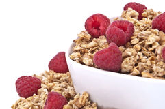Muesli with fresh raspberries Royalty Free Stock Photo