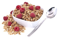Muesli with fresh raspberries Stock Images