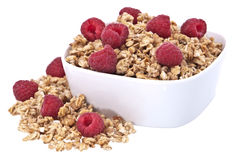 Muesli with fresh raspberries Stock Photography