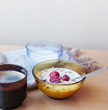 Muesli with fresh raspberries and milk, typical Scandinavian bre. Akfast Royalty Free Stock Images