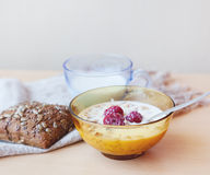 Muesli with fresh raspberries and milk, typical Scandinavian bre. Akfast Stock Photography