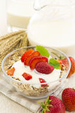 Muesli with Fresh Strawberries Royalty Free Stock Photos