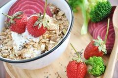 Muesli with Fresh Strawberries Stock Photo
