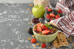 Muesli with a fresh strawberries and figs Stock Image
