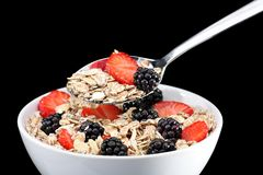 Muesli and fruit in bowl Royalty Free Stock Images