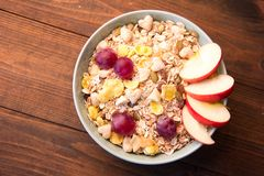 Muesli fruit with dried apples, grapes, dates stock images