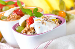 Muesli with fruit and yogurt Royalty Free Stock Photos