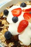 Muesli with fruit and yogurt in bowl Stock Photos