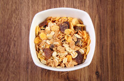 Muesli in glass bowl, concept of healthy nutrition and increase metabolism Royalty Free Stock Image
