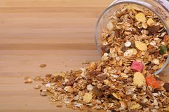 Muesli in a glass jar Stock Photography