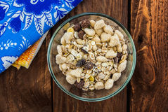 Muesli in the glassy pialat Royalty Free Stock Images