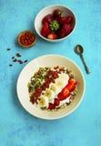 Muesli with goji berries and strawberries breakfast Royalty Free Stock Images