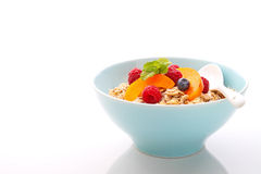 Muesli (granola) with berries and yogurt. For breakfast stock image