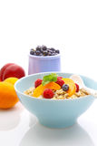Muesli (granola) with berries and yogurt. For breakfast royalty free stock photos