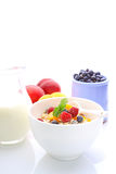 Muesli (granola) with berries. And yogurt for breakfast stock photos