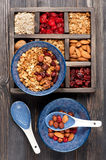 Muesli granola oatmeal with nuts and dried fruits. Healthy breakfast. Top view Royalty Free Stock Photos
