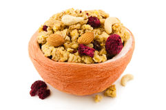 Muesli in grapefruit bowl Royalty Free Stock Photos