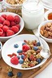 Muesli hecho en casa con las bayas frescas, yogur, vertical, visión superior Foto de archivo libre de regalías
