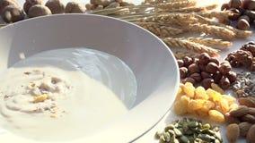 Muesli and Ingredients stock video footage