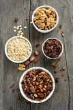 Muesli and ingredients Royalty Free Stock Photo