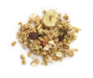 Muesli  isolated on white. Top view Royalty Free Stock Photos