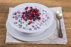 Muesli made from blueberries, cranberry, oat flakes with yogurt and honey, close up stock photos