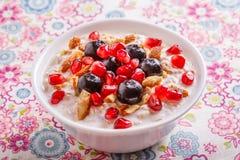 Muesli met Vers Fruit Stock Fotografie