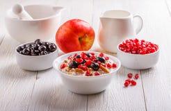 Muesli met Vers Fruit Stock Afbeelding