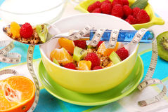 Muesli met verse vruchten als dieetvoedsel Stock Afbeelding