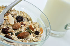 Muesli and Milk Stock Photography