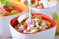 Muesli with milk Stock Photo