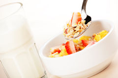 Muesli and milk royalty free stock image