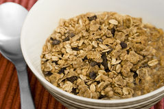 Muesli with milk in bowl Stock Photography