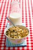 Muesli and milk Royalty Free Stock Photos