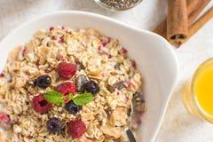 Muesli With Milk, Chia Seeds, Berries and Cinnamon Stock Image