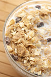 Muesli with milk close-up Royalty Free Stock Photography