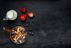 Muesli with Milk and Copy Space Royalty Free Stock Photos
