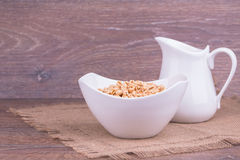 Muesli with milk Royalty Free Stock Images