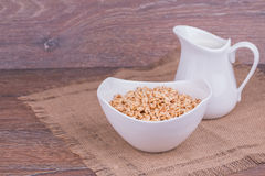 Muesli with milk Royalty Free Stock Photos