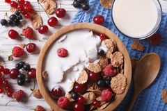Muesli with milk and fresh berries close up horizontal top view. Muesli with milk and fresh berries close up in a wooden bowl. horizontal top view Royalty Free Stock Image